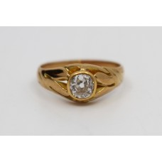 18ct Rose Gold Diamond Single Stone Ring c.1890