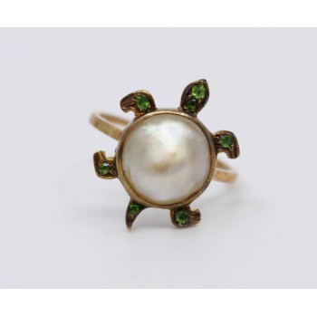 18ct Gold Russian Demantoid Garnet & Pearl Turtle Form Ring c.1900