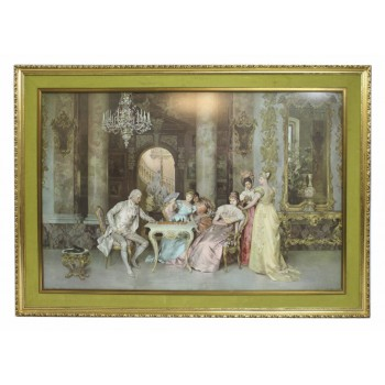 18th c. Interior Print Set in Gilt Frame