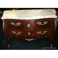 18th c. Kingwood Ormolu Marble Topped Bombé ​Commode