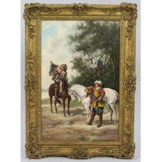 19th c. Cavaliers with Horses by H.Markham Oil on Canvas