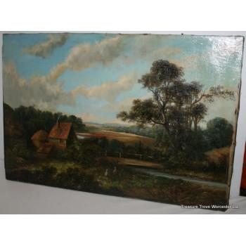 Antique 19th c. Landscape Oil on Canvas