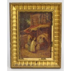 19th c. Arabian Market Scene Sketch Oil on Board