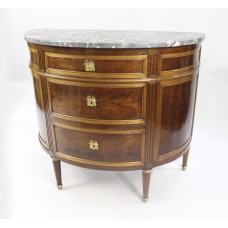 19th c. Demilune Marble Topped Mahogany Commode