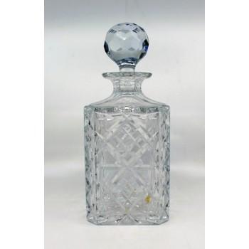 20th c. English Cut Glass Crystal Square Spirit Decanter
