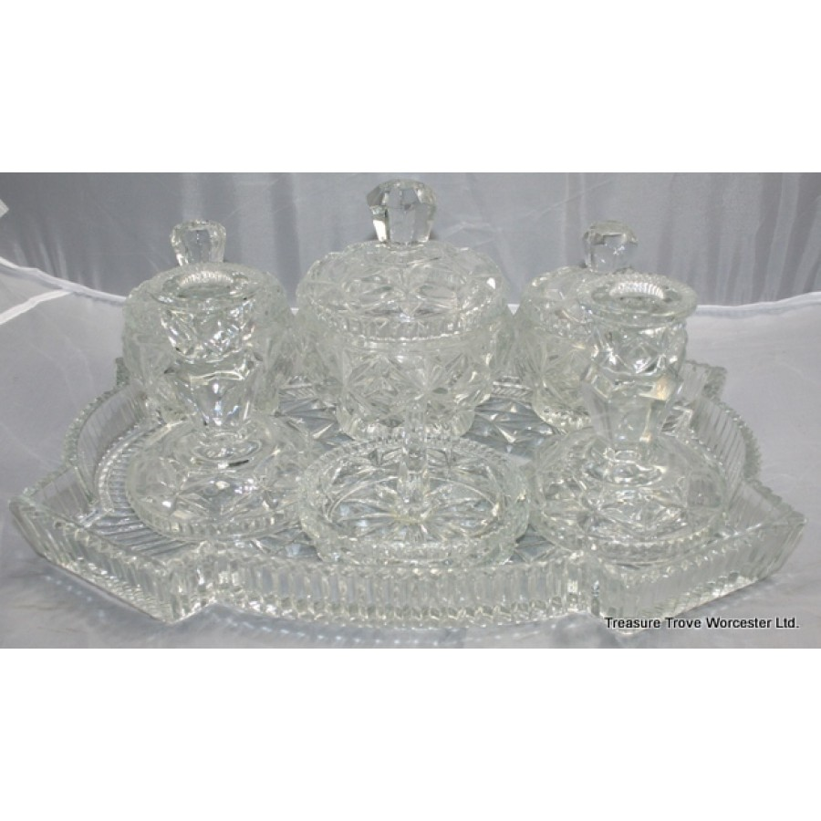 7 piece glass dressing table set