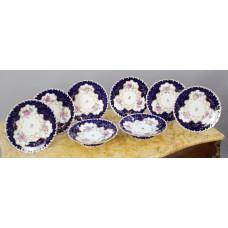 8 Piece Minton Floral Cobalt Dessert Service c.1900