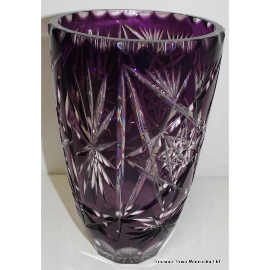 Amethyst Cut Glass Overlay Crystal Vase
