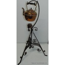 Antique Copper Spirit Kettle on Wrought Iron Stand