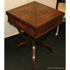 Late Victorian Rosewood Inlaid Envelope Table