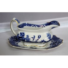 Blue And White Willow Pattern Sauce Boat On Stand