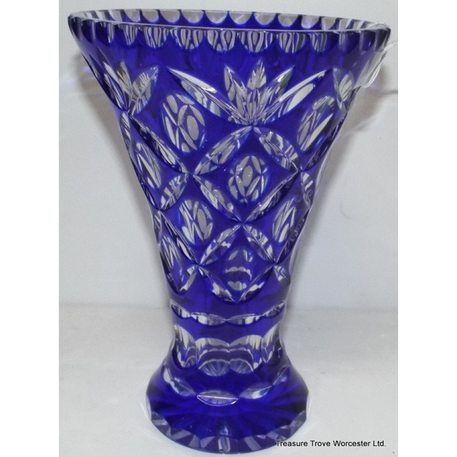 Webb Corbett Blue Cut Glass Overlay Crystal Vase
