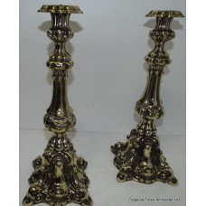 Pair Polished Solid Brass Antique Style Candlesticks