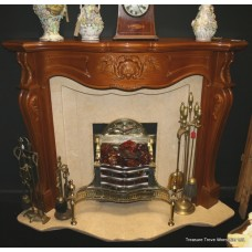 Complete Carved Wood & Marble Fire Surround
