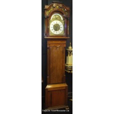 Early Georgian Brass Dial Inlaid Mahogany Longcase Clock