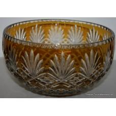 Czech Bohemia Amber Overlay Glass Crystal Bowl