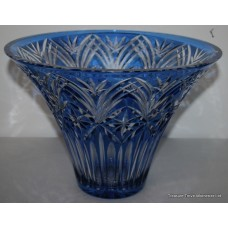 Czech Bohemian Blue Overlay Glass Crystal Vase