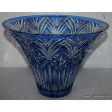 Czech Bohemian Blue Overlay Glass Crystal Vase