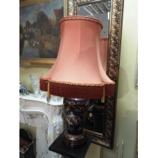 Porcelain Lamp With Romantic Scene Complete With Handmade Silk Shade