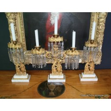 Empire Style Antique Ormolu & Marble Girandoles