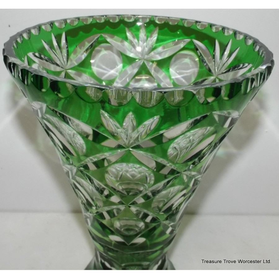 Green Cut Glass Overlay Crystal Vase