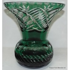 Stourbridge Cut Glass Green Overlay Crystal Vase