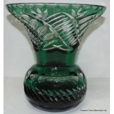 Stourbridge Cut Glass Green Overlay Crystal Vase