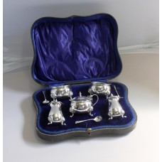 10 Piece Joseph Gloster Ltd Solid Silver Condiment Set With Original Blue Glass Liners