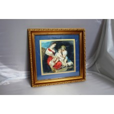 19th c. Italian Madonna & Child Watercolour Framed