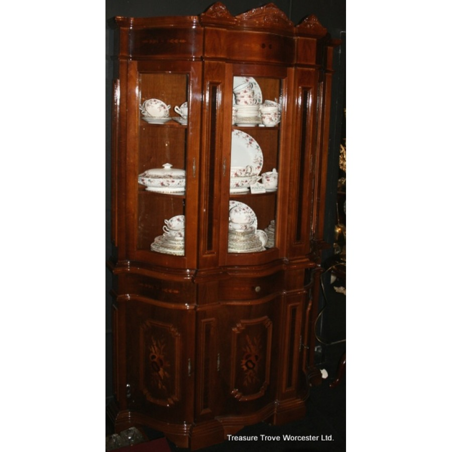 Italian Walnut Inlaid Serpentine Fronted Display Cabinet
