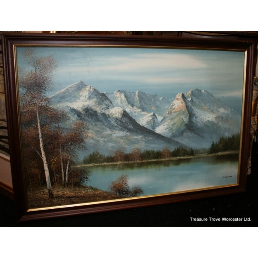 K Bowman Mountain Landscape Oil On Canvas