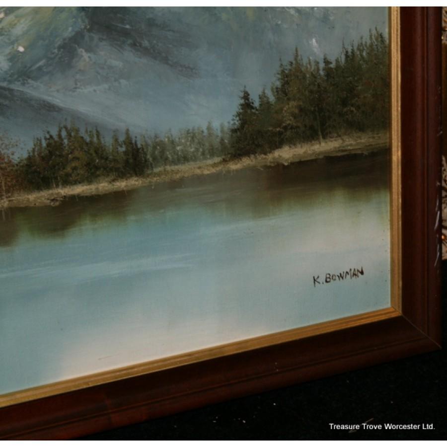 K Bowman Mountain Landscape Oil On Canvas