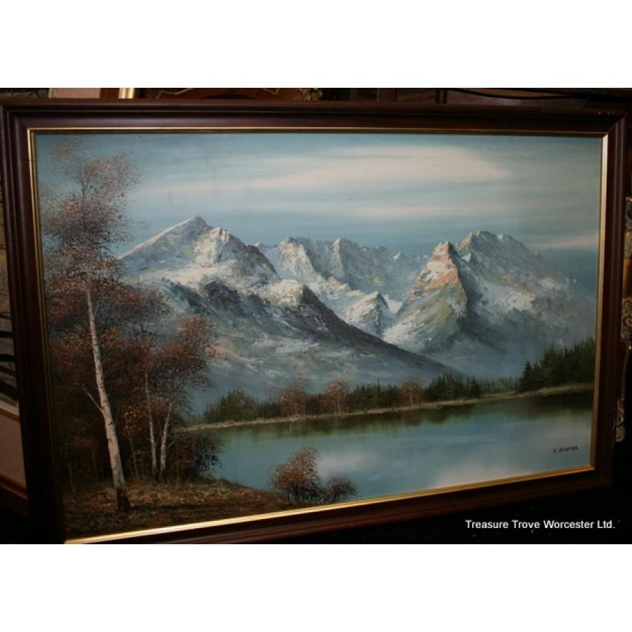 K.Bowman Mountain Landscape Oil On Canvas