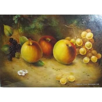 Framed Fruit Painting Signed by Royal Worcester Artist M.E.Morris Oil on Board