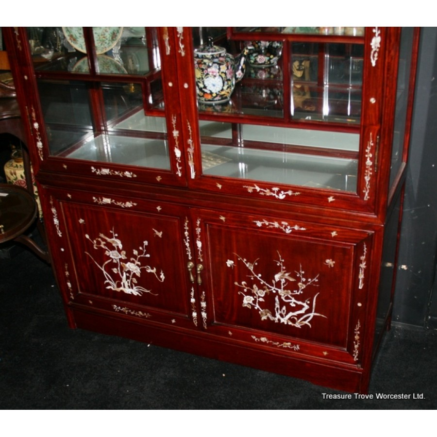 Unique Mother Of Pearl Cabinet: Mahogany Oriental Mother Of Pearl Inlaid Display Cabinet