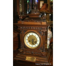 Edwardian Carved Oak Cased 14 Day Bracket Clock