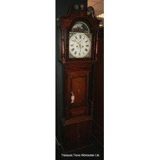 Antique Victorian Country Oak Longcase Clock Painted Dial