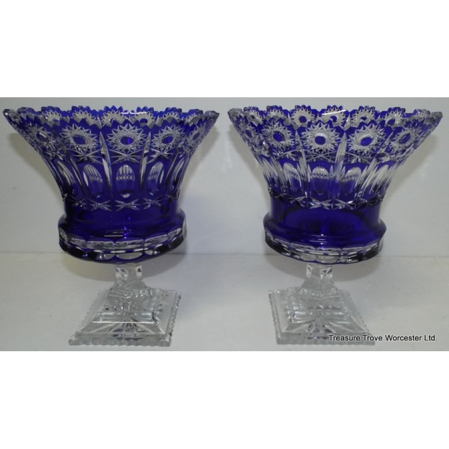 Pair Of Large Cut Glass Overlay Crystal Thistle Vases