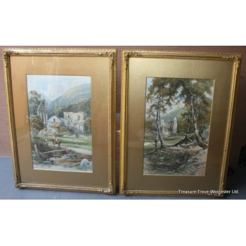 Pair Watercolours Henry Pope (British,1843-1908) Vale Crucis Abbey