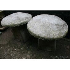 Pair of Heavy Antique Style Composite Stone Staddlestones