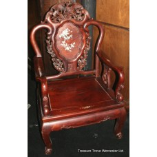 Pair of Rosewood Mother of Pearl Throne Chairs