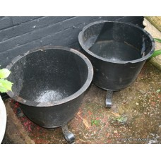 Pair of Victorian Cast Iron Plant Pots on Stands