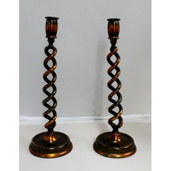 Pair of Late Victorian Barley Twist Candle Sticks