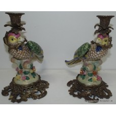 Pair of Meissen Style Parrot Candlesticks with Heavy Ormolu Mounts