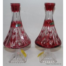 Pair of Vintage Polish Ruby Overlay Crystal Vases