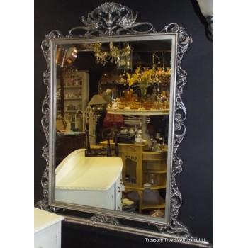Large Vintage Silver Finish Carved Overmantle Mirror