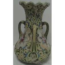 Fine Three Handled Hand Decorated Continental Porcelain Vase