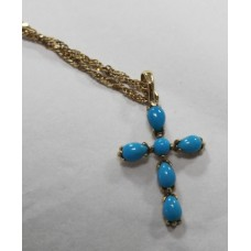 Turquoise Set 9ct Gold Cross on Chain
