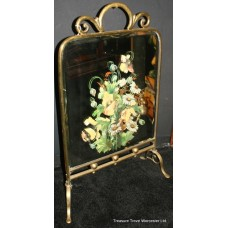 Victorian Brass Mirrored Hand Painted Floral Fire Screen