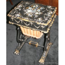 Victorian Sewing Table Papier-mâché Mother of Pearl